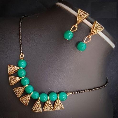 Ravishing Turquoise Green Colored Moti Work Brass & Pearl Mangalsutra Set