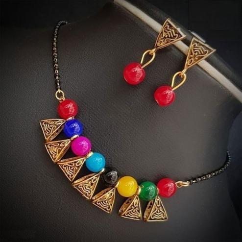 Stunning Multi Colored Moti Work Brass & Pearl Mangalsutra Set