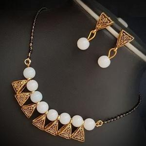 Blooming White Colored Moti Work Brass & Pearl Mangalsutra Set