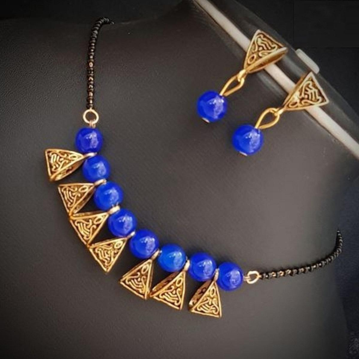Marvellous Royal Blue Colored Moti Work Brass & Pearl Mangalsutra Set