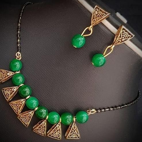 Ravishing Green Colored Moti Work Brass & Pearl Mangalsutra Set