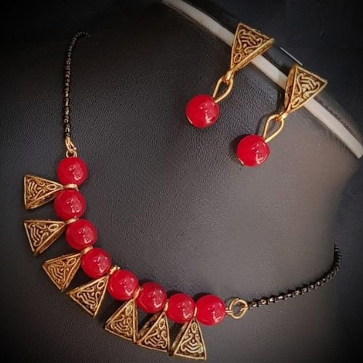 Eye-catching Red Colored Moti Work Brass & Pearl Mangalsutra Set