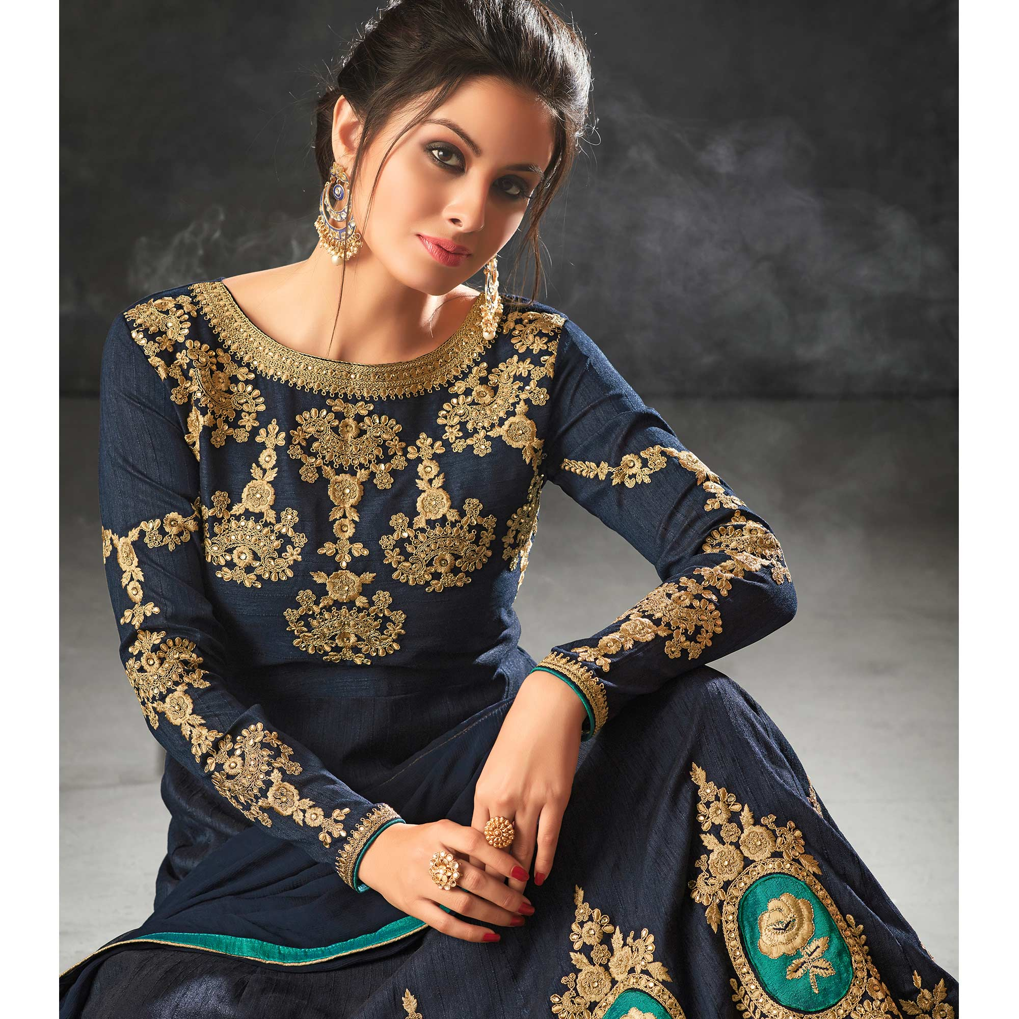Desiring Navy Blue Colored Partywear Embroidered Art Silk Anarkali Suit