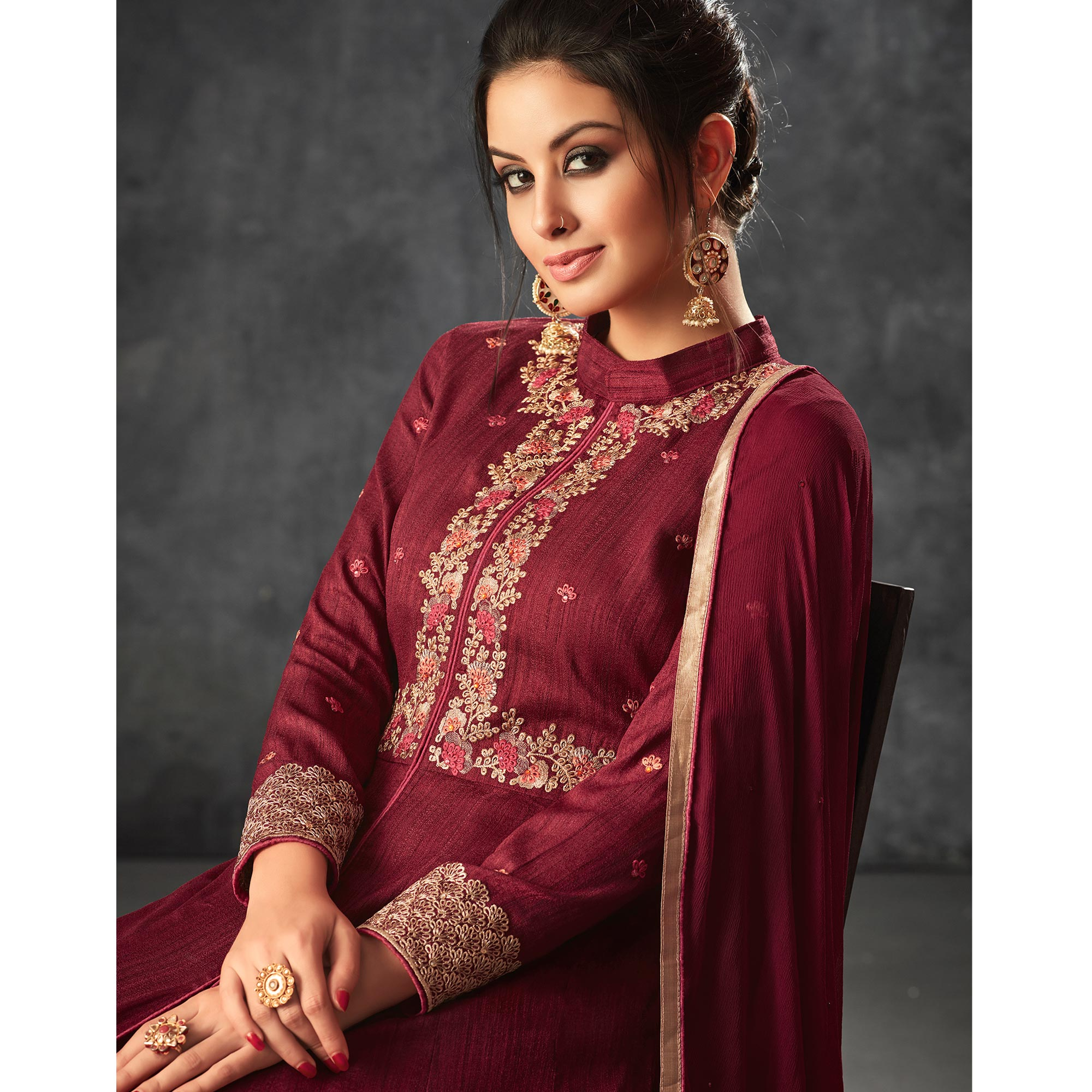 Impressive Maroon Colored Partywear Embroidered Art Silk Anarkali Suit