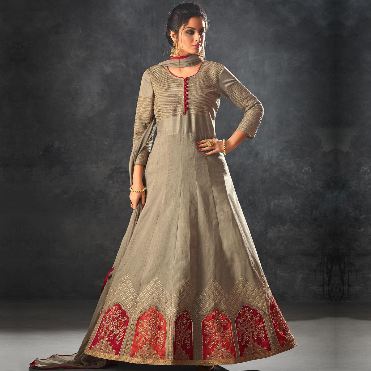 Gorgeous Gray Colored Partywear Embroidered Art Silk Anarkali Suit