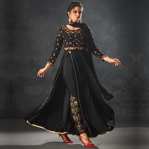 Flaunt Black Colored Partywear Embroidered Art Silk Anarkali Suit