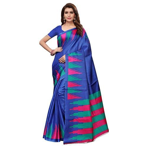 Intricate Blue Colored Casual Wear Printed Art Silk Saree