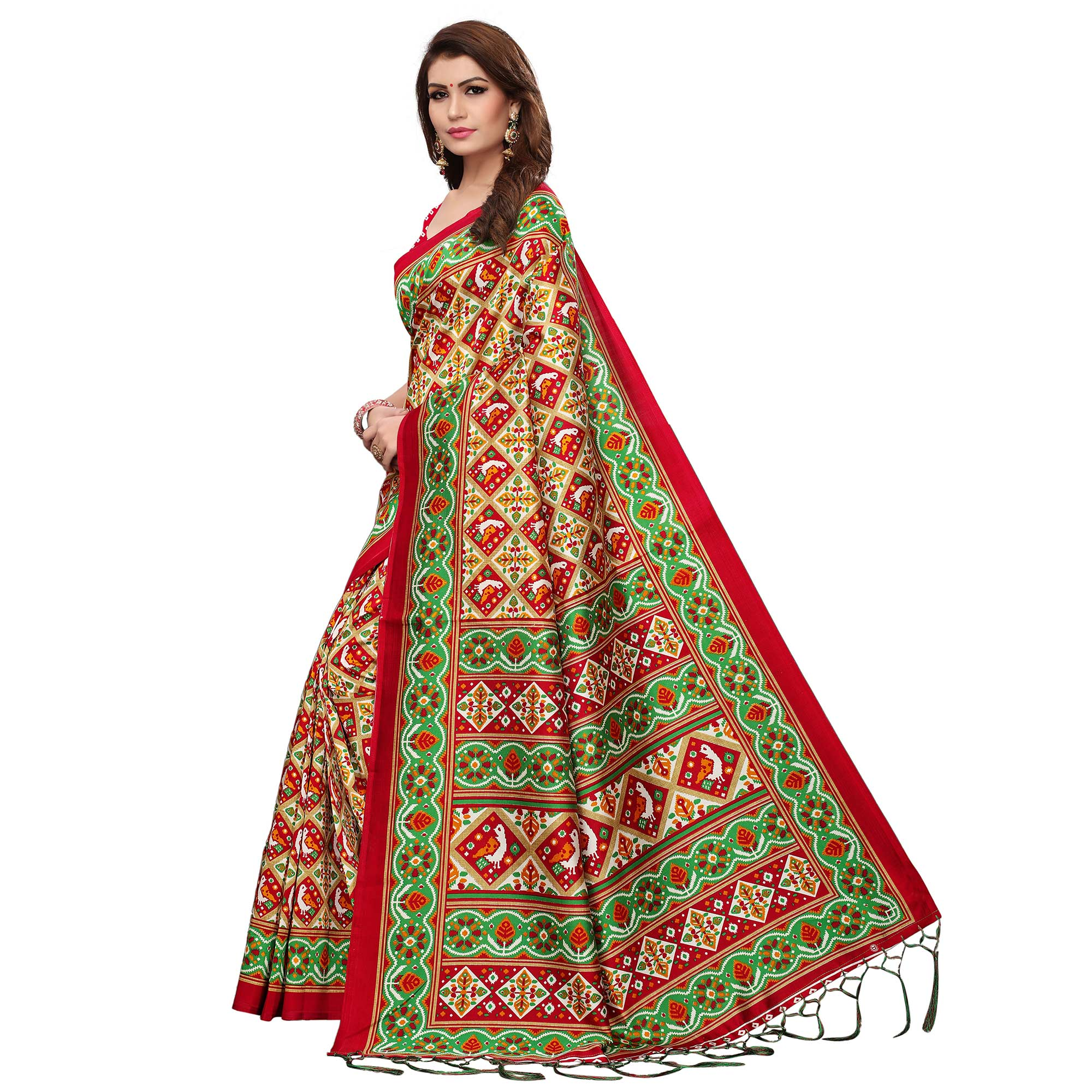 Alluring Red - Multi Colored Casual Wear Printed Art Silk Saree