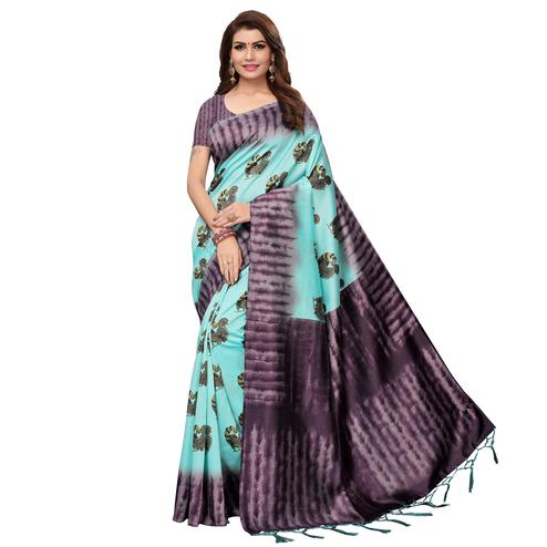 Dazzling Sky Blue Colored Casual Wear Printed Art Silk Saree