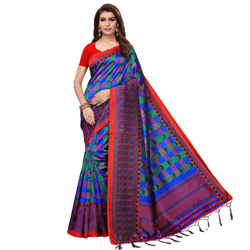 Breathtaking Blue Colored Casual Wear Printed Art Silk Saree