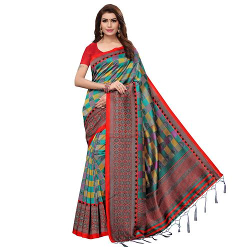 Impressive Green Colored Casual Wear Printed Art Silk Saree