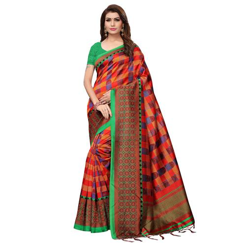 Innovative Orange Colored Casual Wear Printed Art Silk Saree