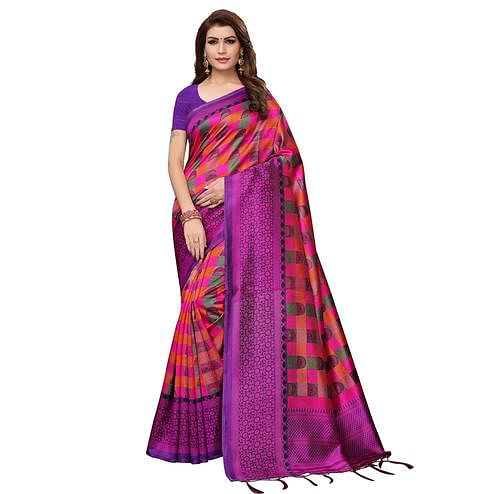 Gleaming Purple Colored Casual Wear Printed Art Silk Saree