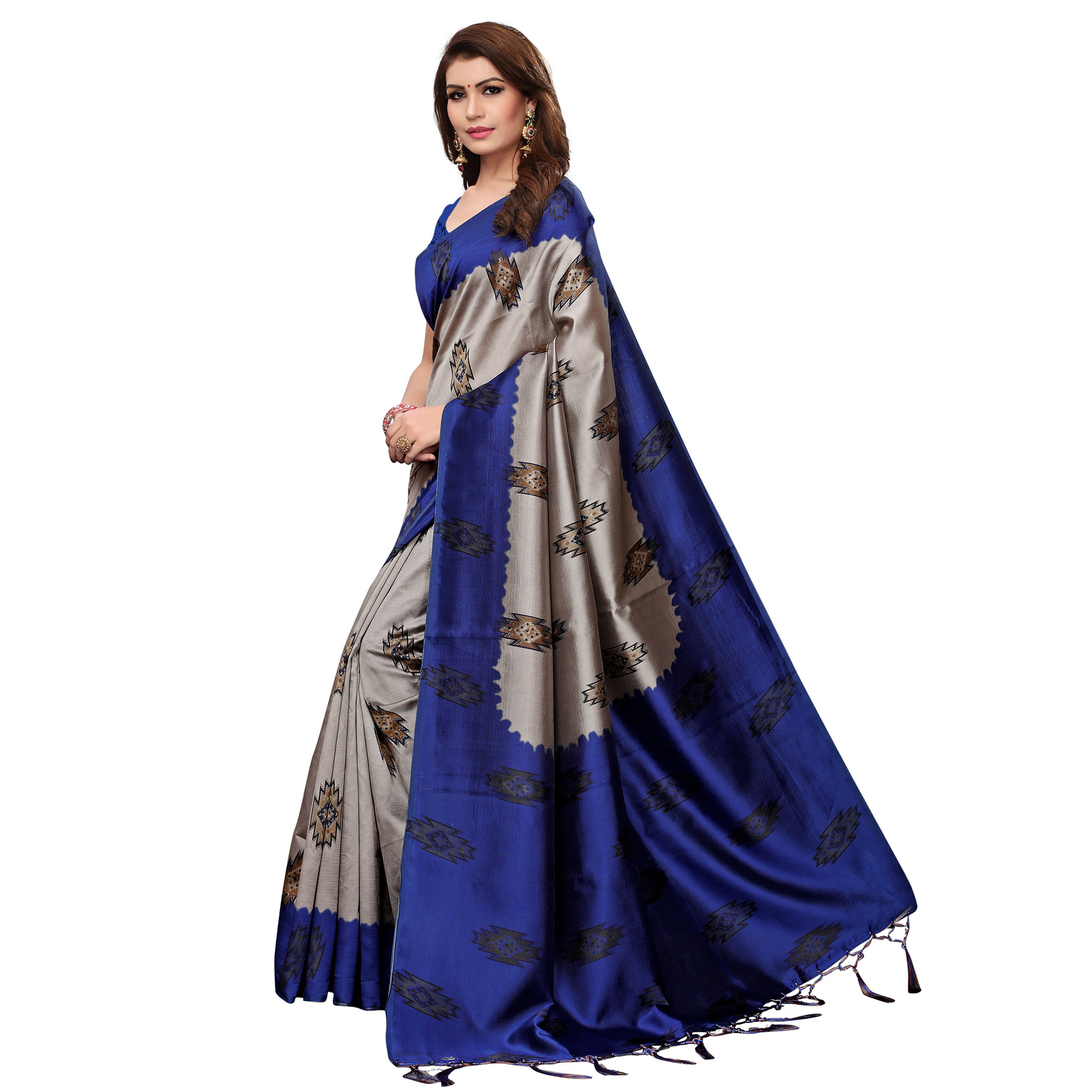 Arresting Blue - Grey Colored Casual Wear Printed Art Silk Saree