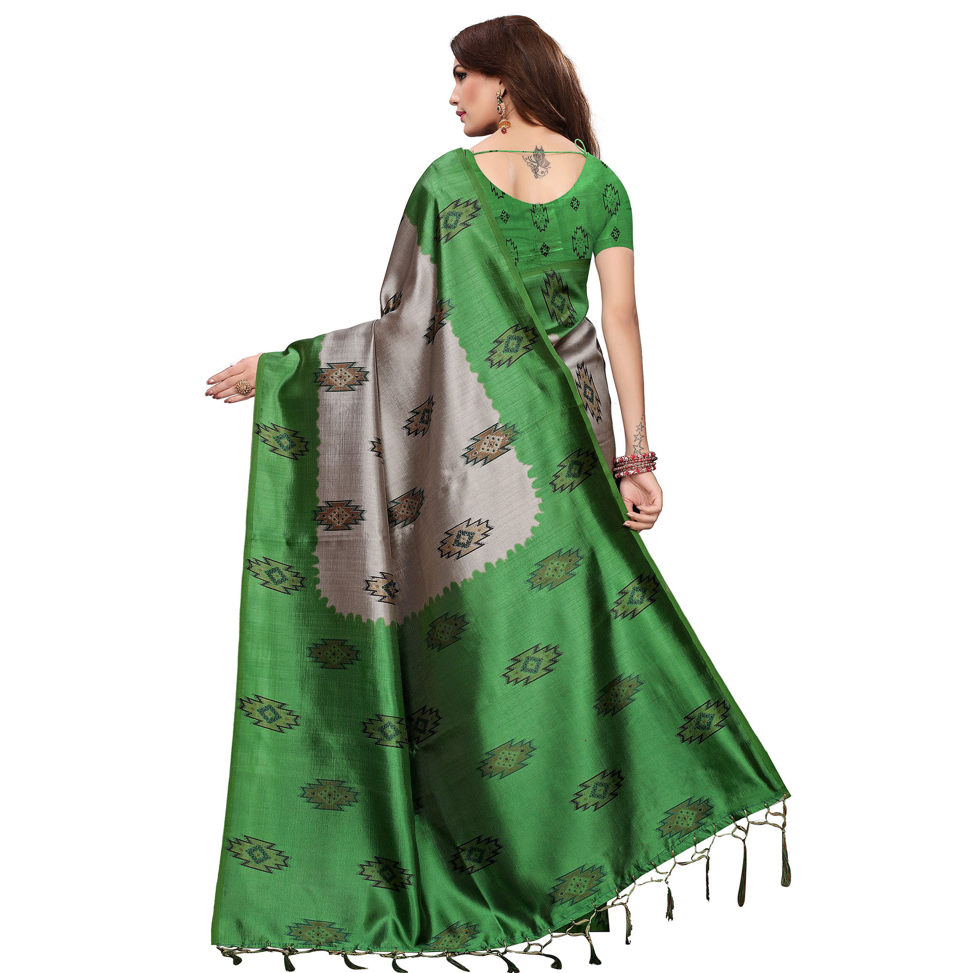Exceptional Green - Grey Colored Casual Wear Printed Art Silk Saree