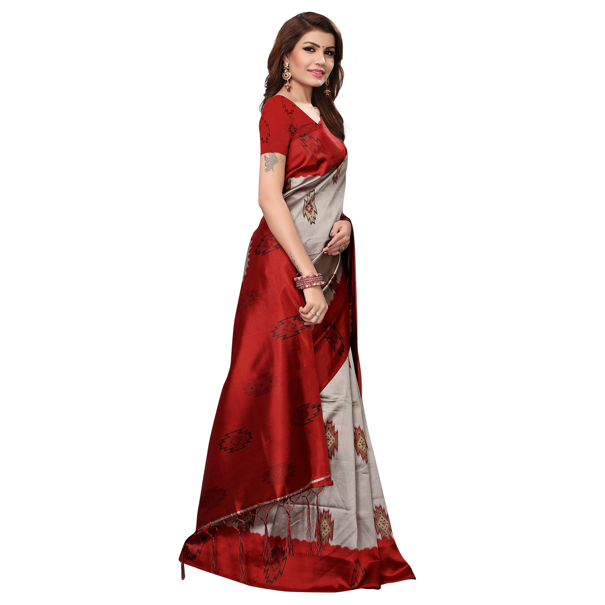 Excellent Red - Grey Colored Casual Wear Printed Art Silk Saree