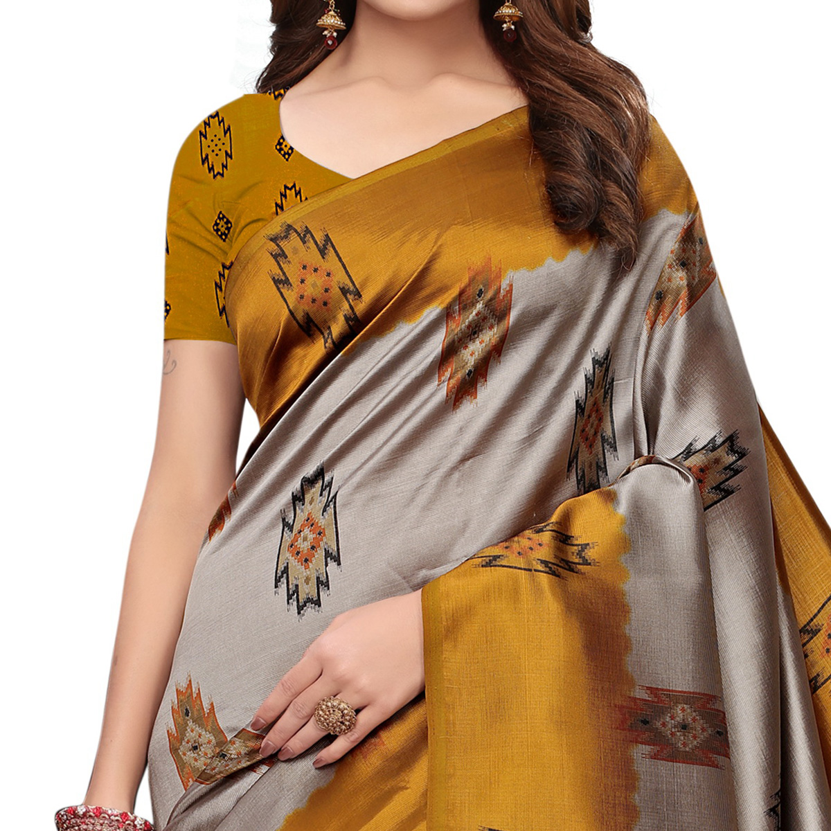 Ethnic Yellow - Grey Colored Casual Wear Printed Art Silk Saree