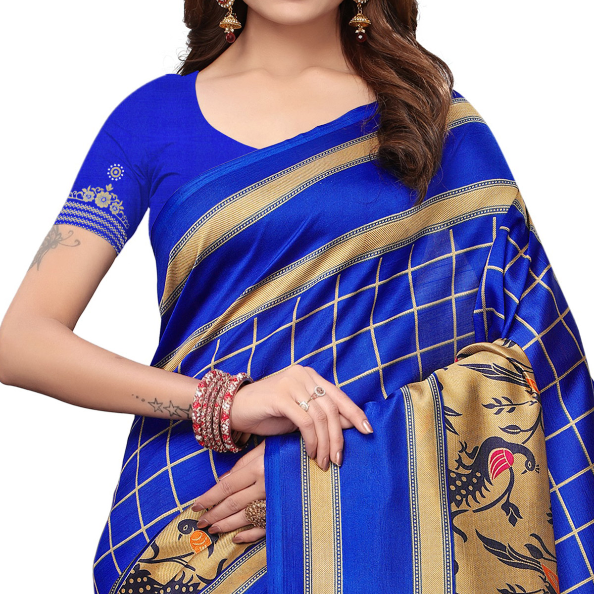 Starring Blue Colored Casual Wear Printed Art Silk Saree
