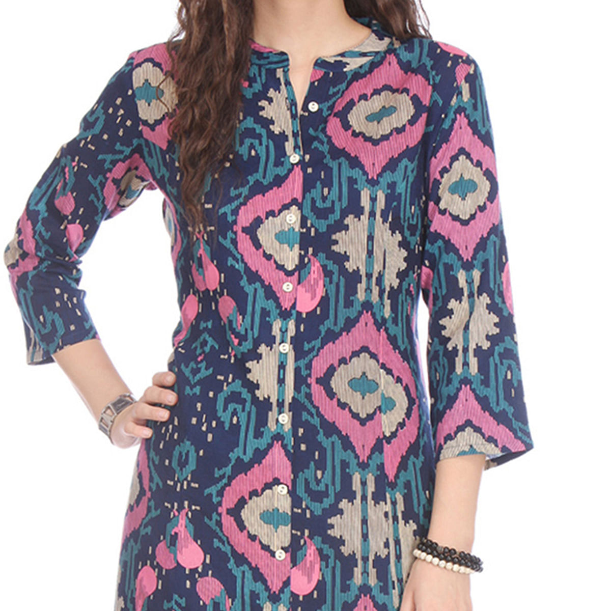 Multicolored Rayon Stitched Kurti