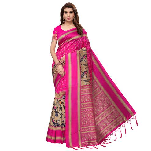 Flirty Pink Colored Casual Wear Printed Art Silk Saree