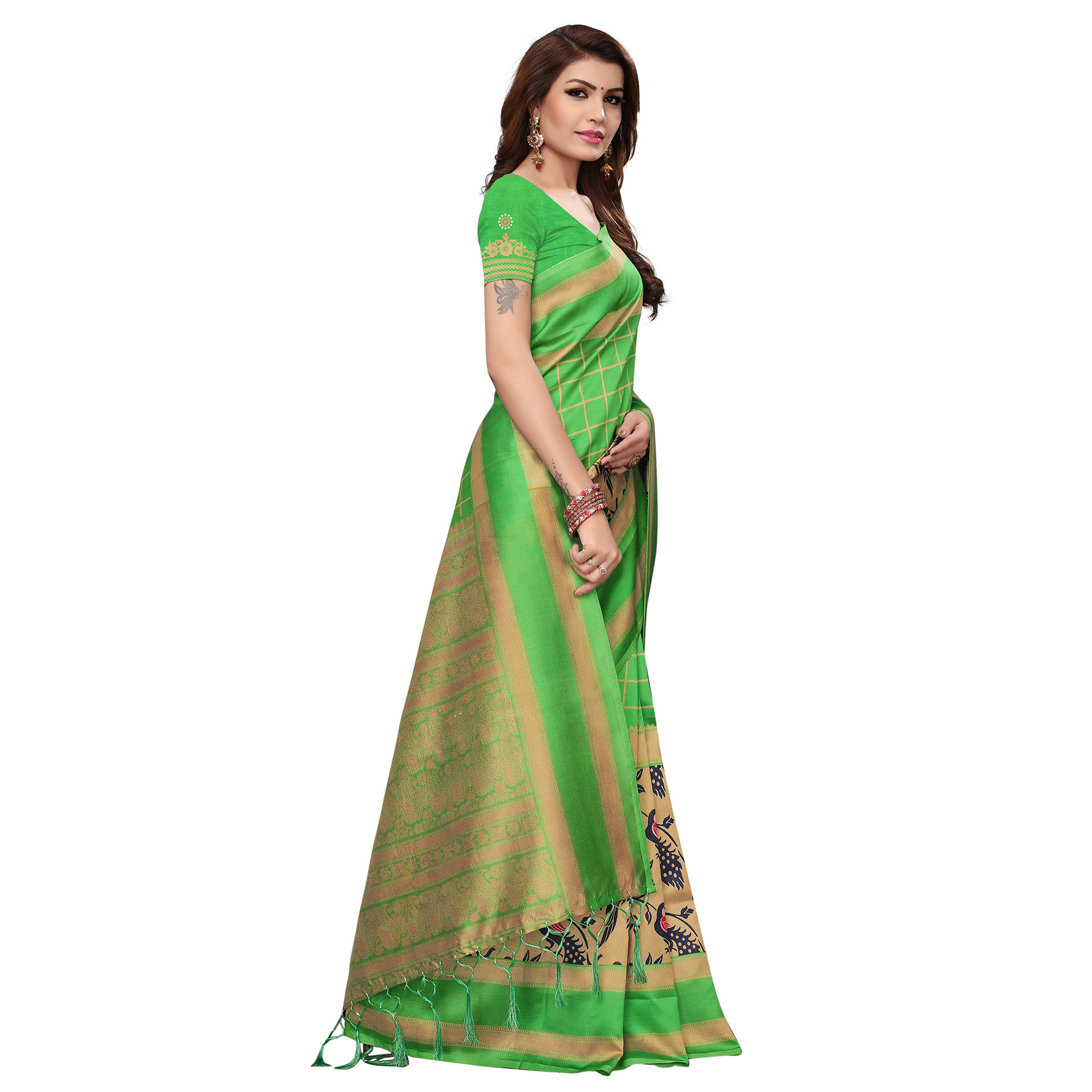 Glowing Green Colored Casual Wear Printed Art Silk Saree