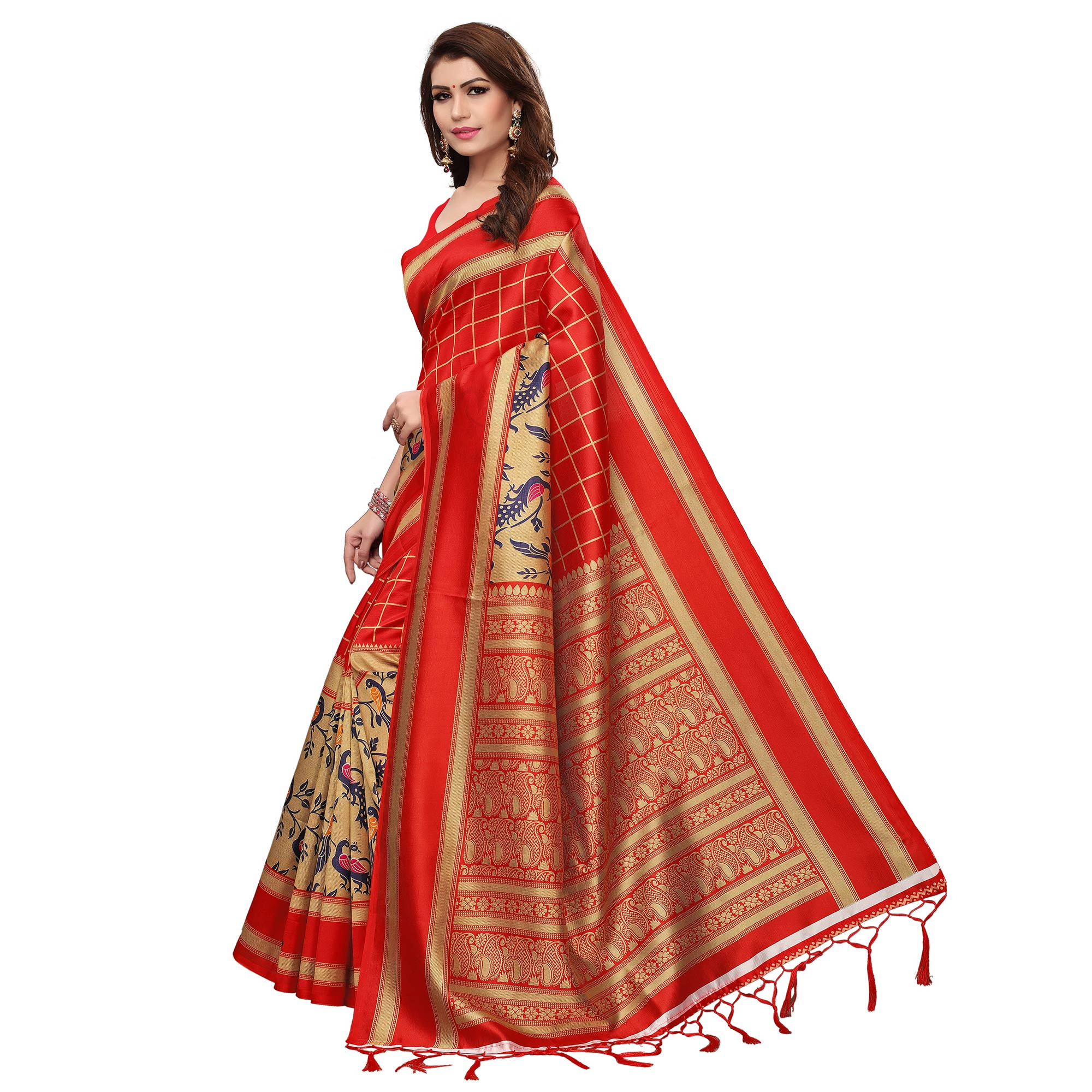 Hypnotic Red Colored Casual Wear Printed Art Silk Saree