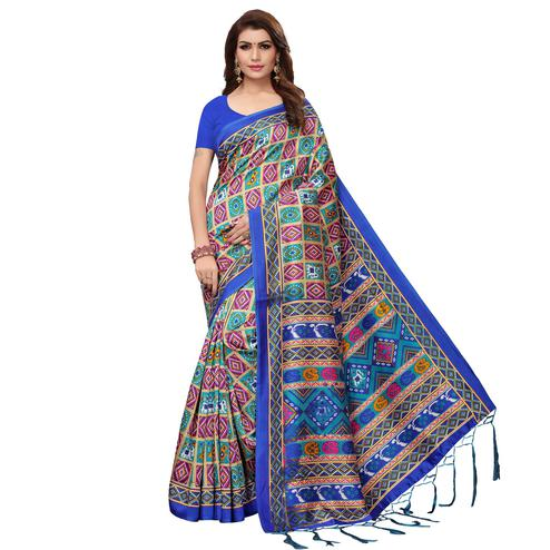 Trendy Blue - Multi Colored Casual Wear Printed Art Silk Saree
