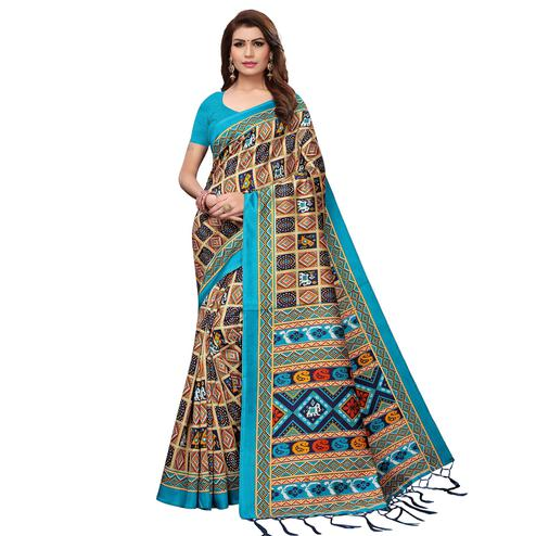 Magnetic Sky Blue - Multi Colored Casual Wear Printed Art Silk Saree