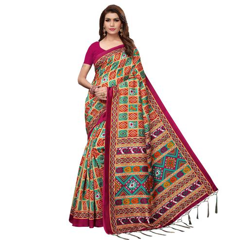 Energetic Pink - Multi Colored Casual Wear Printed Art Silk Saree