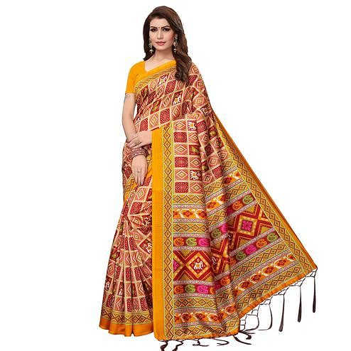 Mesmeric Yellow - Multi Colored Casual Wear Printed Art Silk Saree
