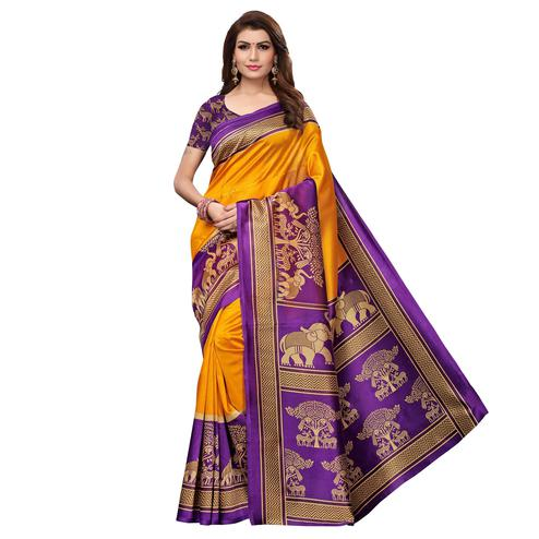 Flaunt Yellow Colored Casual Wear Printed Art Silk Saree