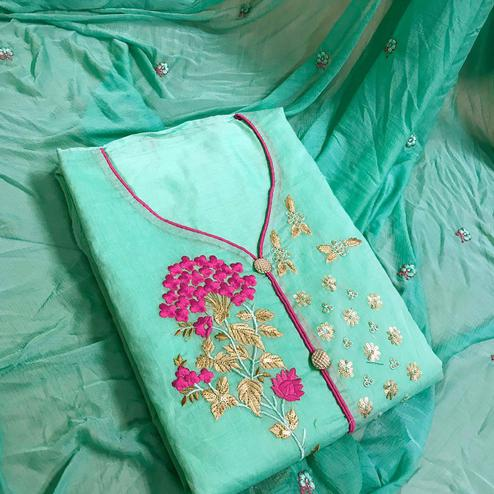 Gorgeous Aqua Green Colored Partywear Embroidered Chanderi Silk Dress Material