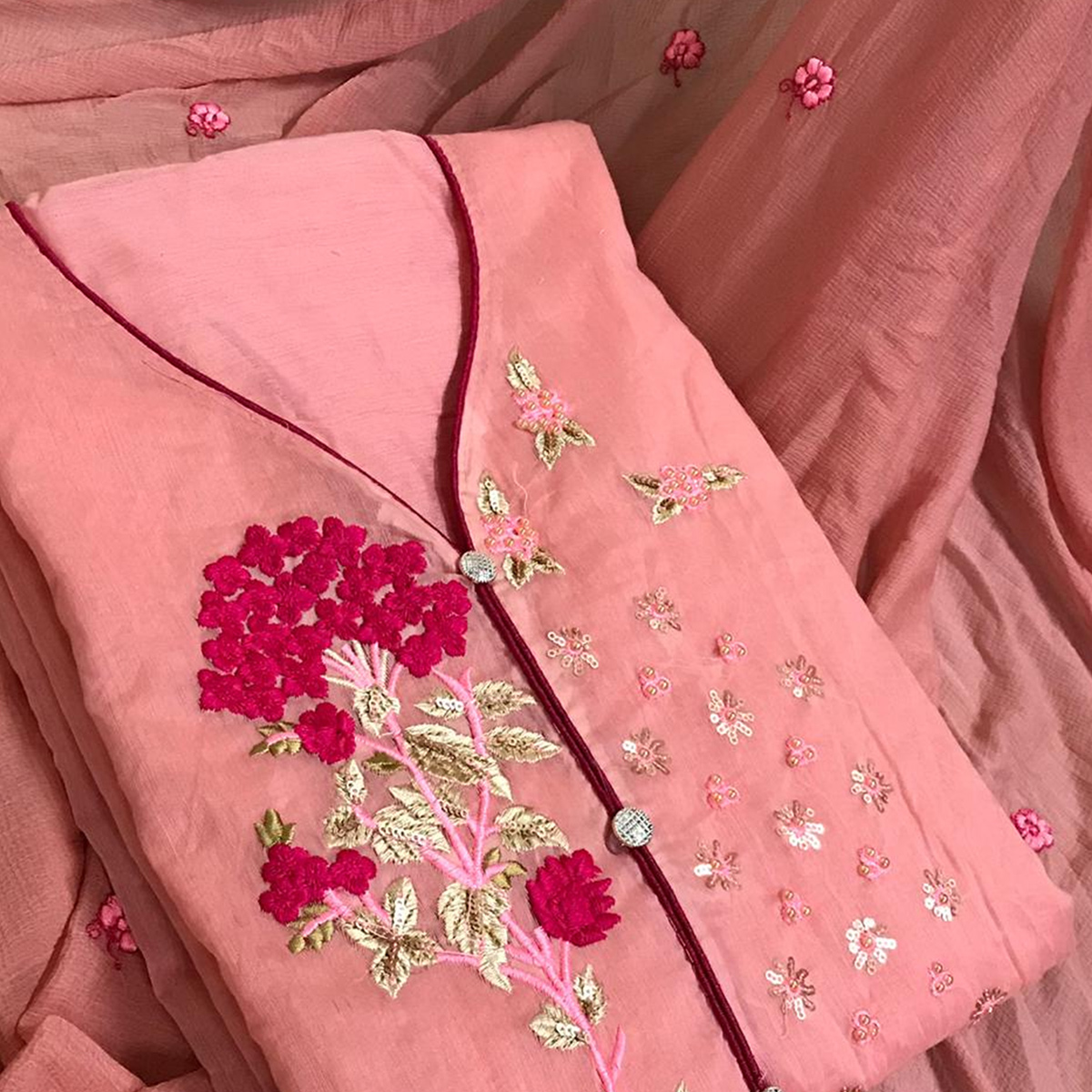 Trendy Peach Colored Partywear Embroidered Chanderi Silk Dress Material