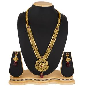 Amazing Golden Color Stone Work Mix Metal Necklace Set