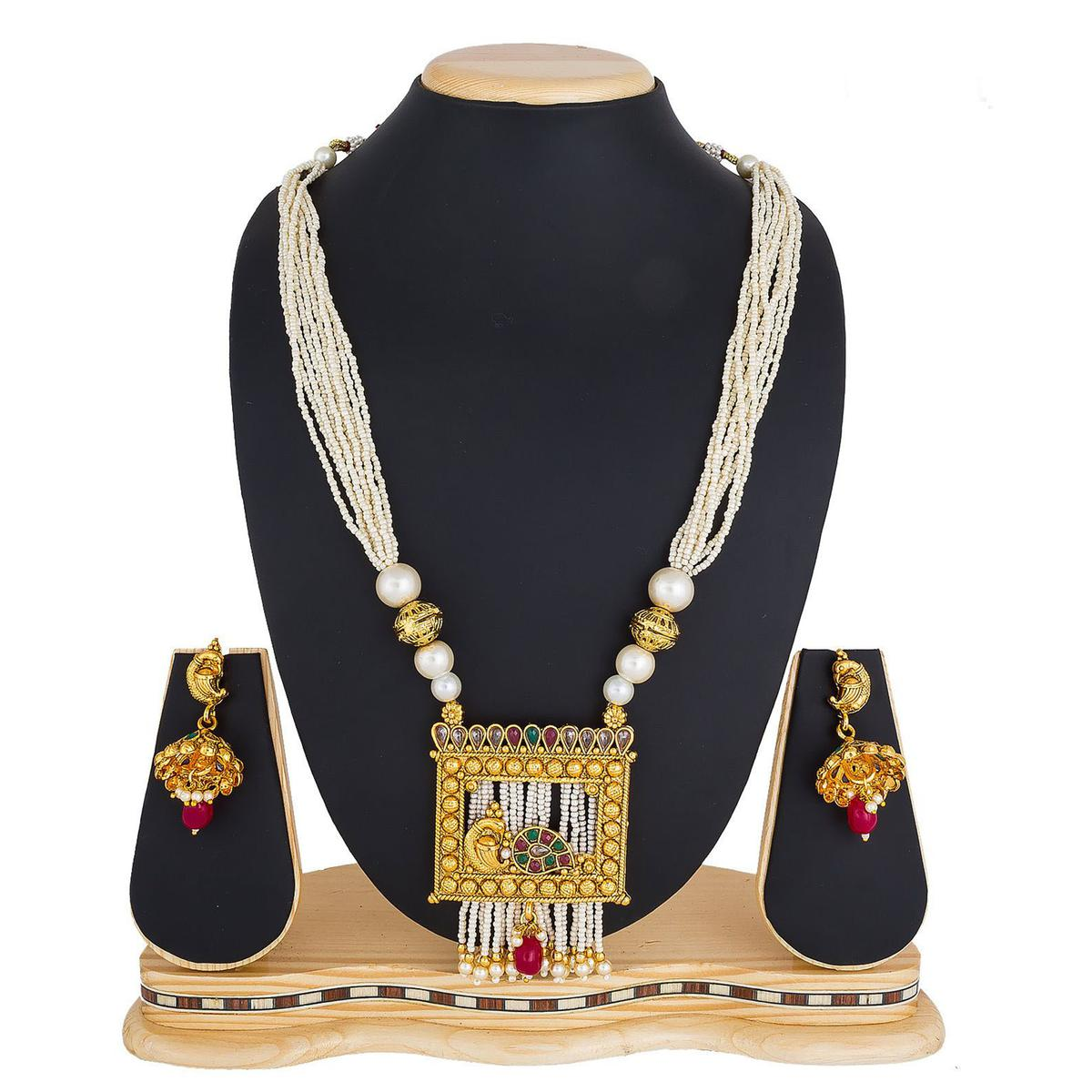 Eye-catching Golden Colored Stone Work Mix Metal Necklace Set