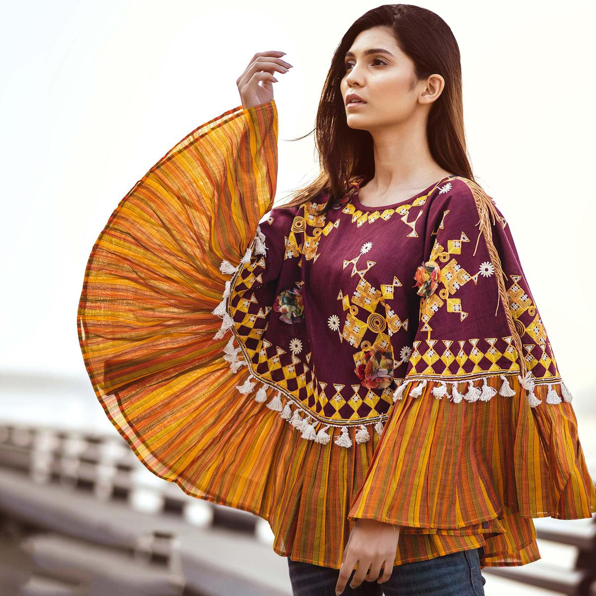 Intricate Wine & Mustard Yellow Colored Embroidered Khadi Poncho