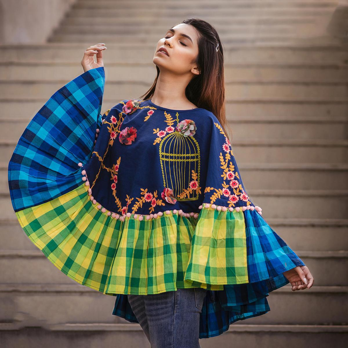 225469d8f6f Buy Desirable Blue   Green Colored Embroidered Khadi Poncho For womens  online India