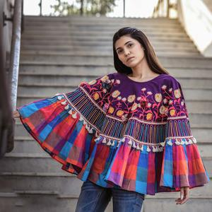 Demanding Purple & Multi Colored Embroidered Khadi Poncho