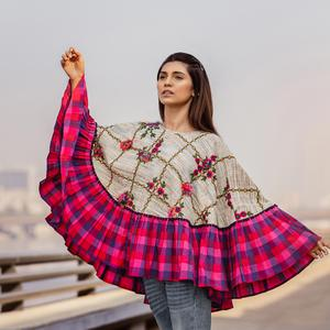 Unique Off-White & Pink Colored Embroidered Khadi Poncho