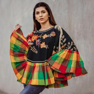 Refreshing Black & Multi Colored Embroidered Khadi Poncho