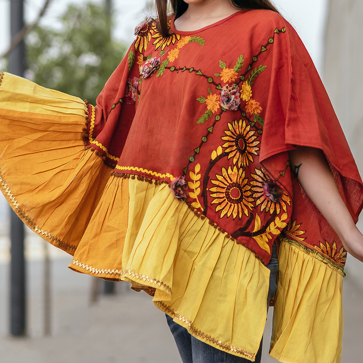 Elegant Orange & Yellow Colored Embroidered Khadi Poncho