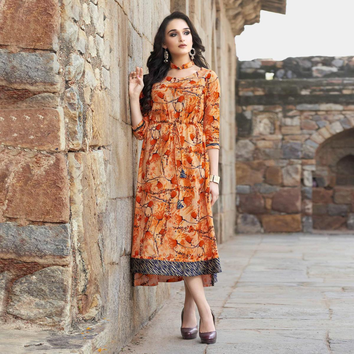 Adorable Shaded Orange Floral Printed Cotton Kurti