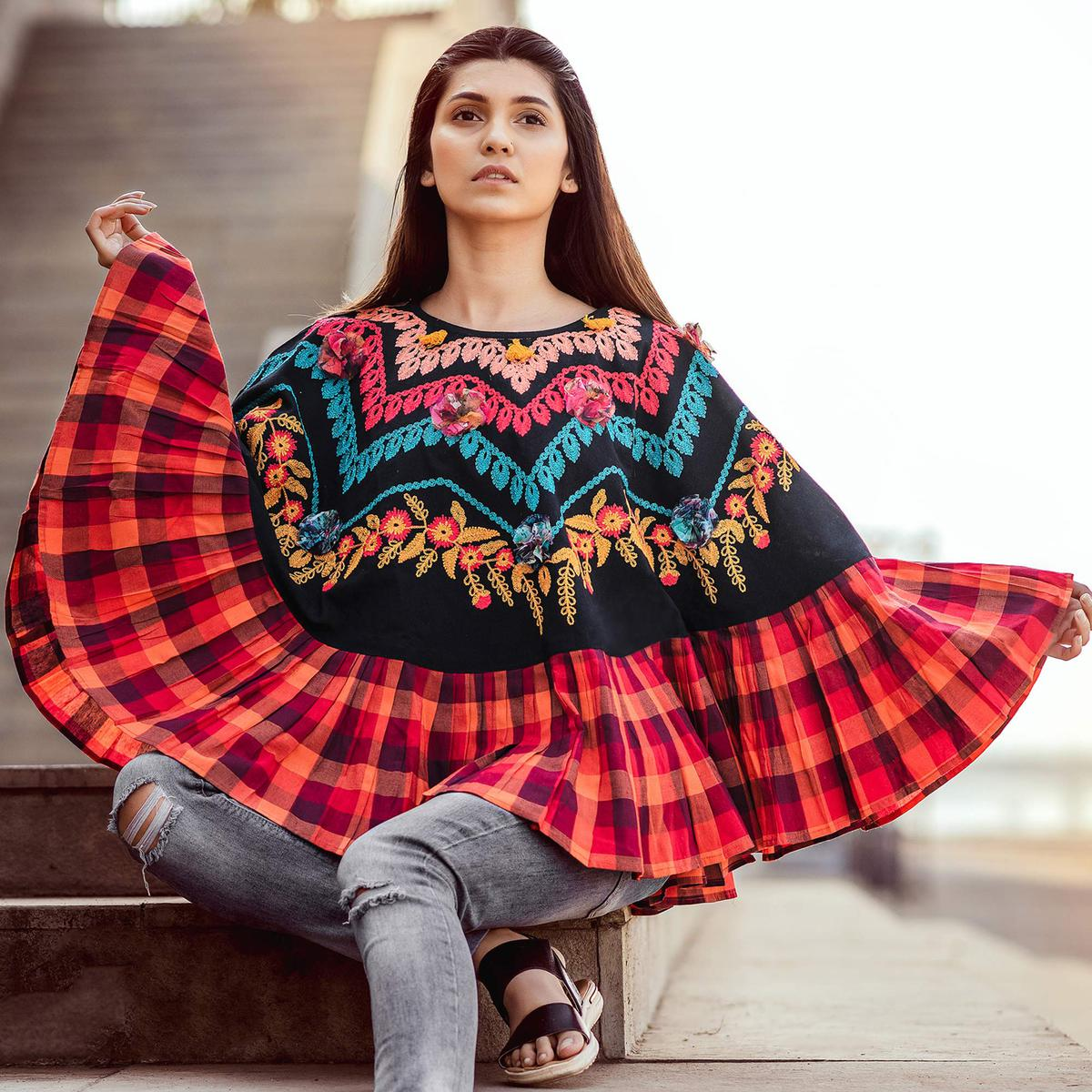 d482821dabc Buy Alluring Black   Multi Colored Embroidered Khadi Poncho For ...