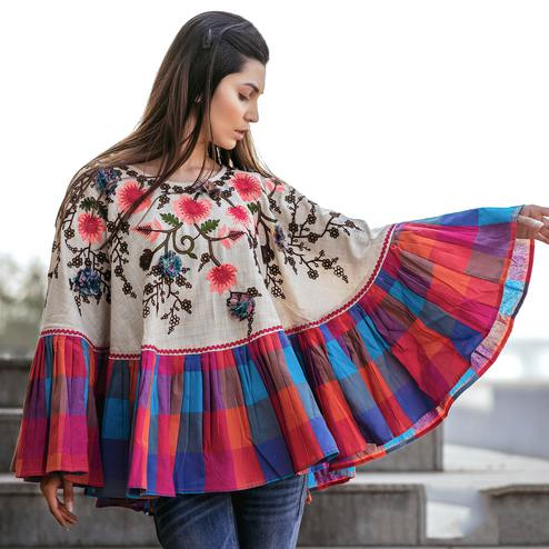 Radiant Off-White & Multi Colored Embroidered Khadi Poncho