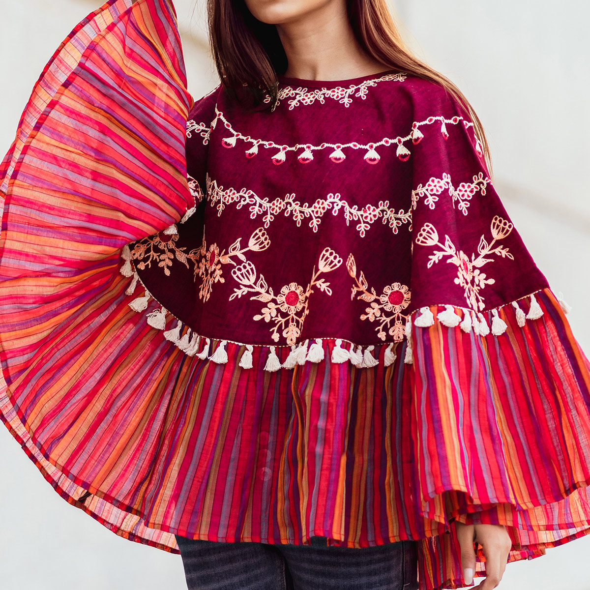 Sensational Magenta Pink Colored Embroidered Khadi Poncho