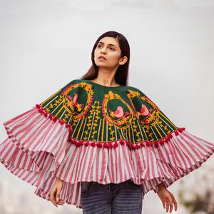 Opulent Dark Green & Pink Colored Embroidered Khadi Poncho
