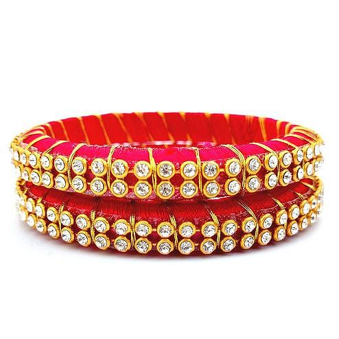 Attractive Red Colored Festive Wear Stone Work Resham Thread Bangles