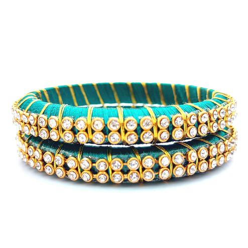 Beautiful Turquoise Blue Colored Festive Wear Stone Work Resham Thread Bangles