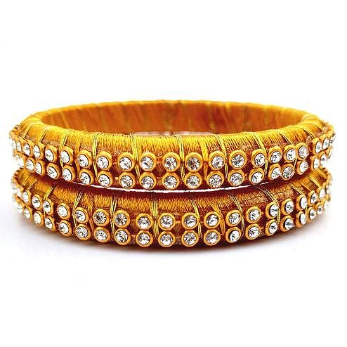 Classy Mustard Yellow Colored Festive Wear Stone Work Resham Thread Bangles