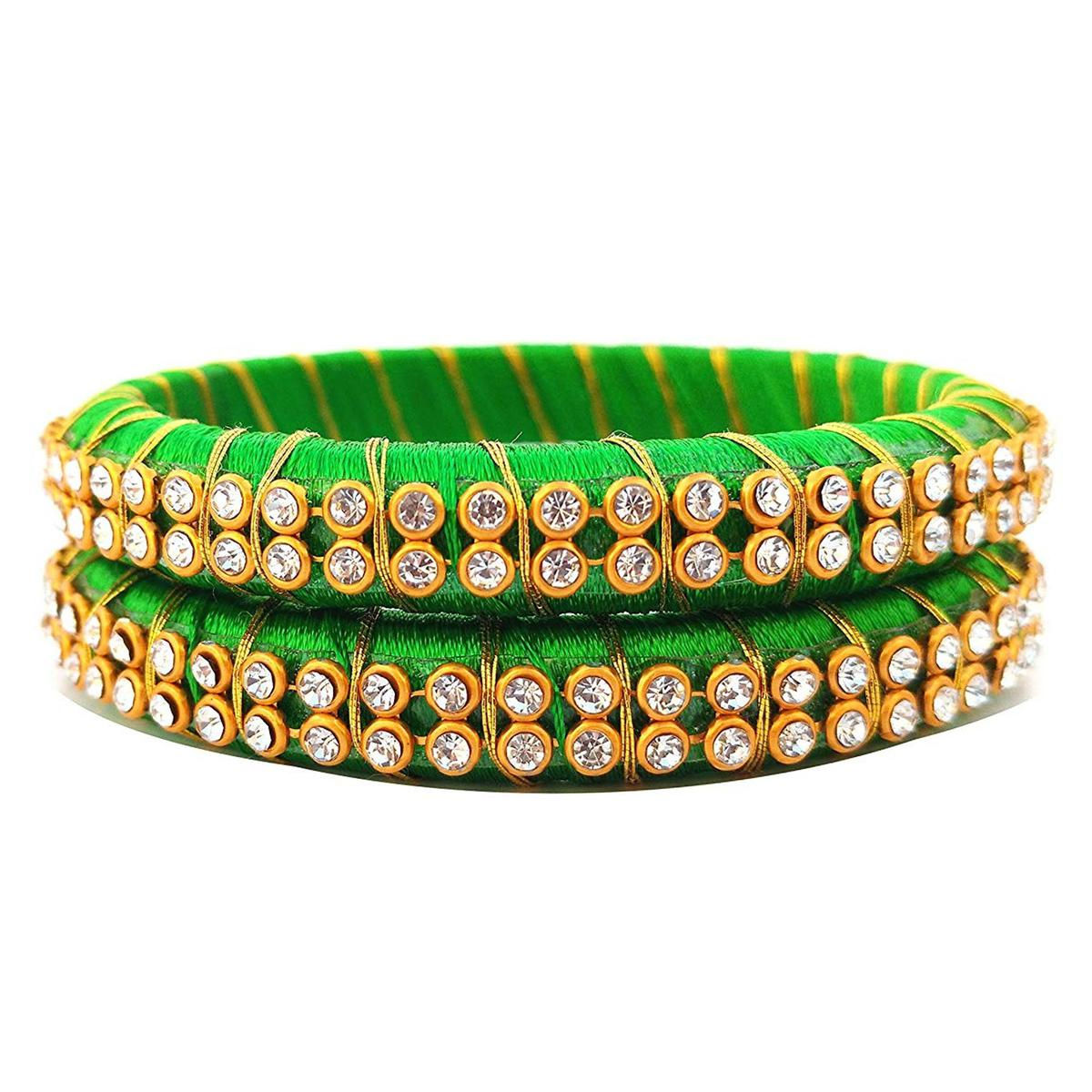 Glorious Green Colored Festive Wear Stone Work Resham Thread Bangles